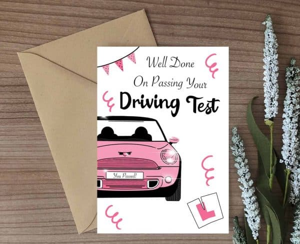 Driving Test Congratulations For Girls Card - Brown Envelope
