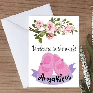 Personalised New Born Congratulations for Girls Card - White Envelope