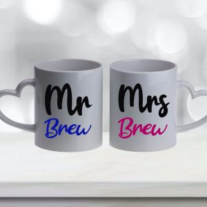 Mr & Mrs Brew Mugs Set of 2 with Heart Handles