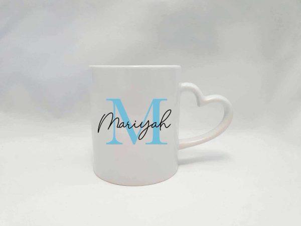 Personalised Name Mug Round Handle - Blue