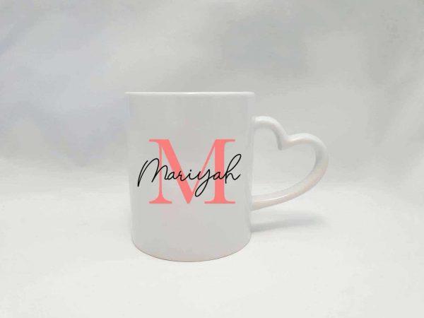 Personalised Name Mug Round Handle - Coral Pink
