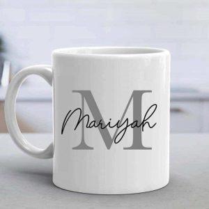 Personalised Name Mug Round Handle - Grey